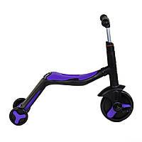 Самокат трансформер 3 в 1 свет и музыка BestScooter самокат беговел трехколесный велосипед от 3 лет фиолетовый