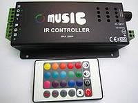 RGB контроллер музыкальный с ИК пультом (24 кнопки) 12/24V; 2A/канал (акустический вход)