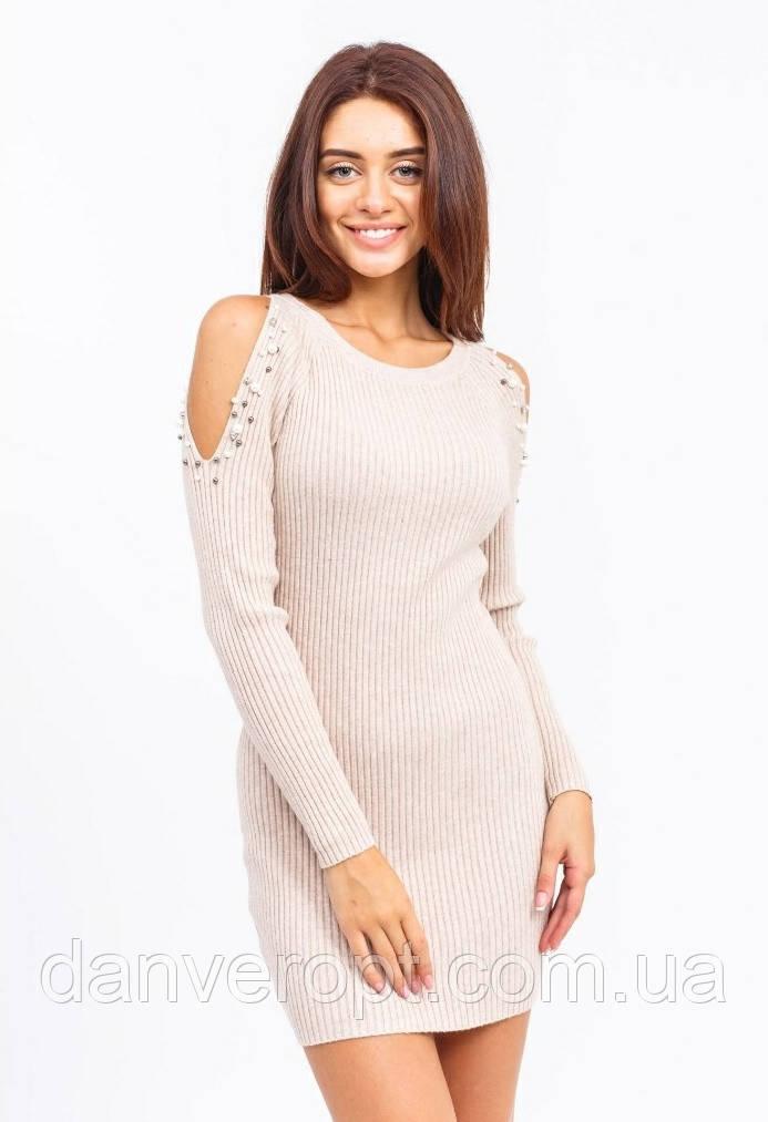 Платье женское модное стильное с жемчугом размер универсальный 42-46 купить оптом со склада 7км Одесса