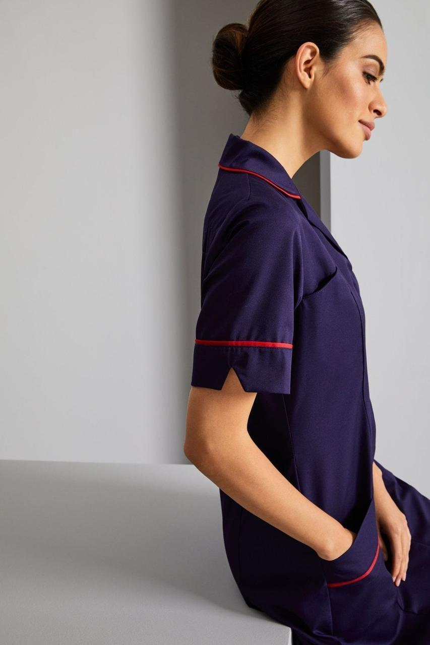 Медицинский халат женский тёмно-синий с красным кантом - 03409
