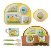 Детский набор посуды из бамбука Цыпленок wow