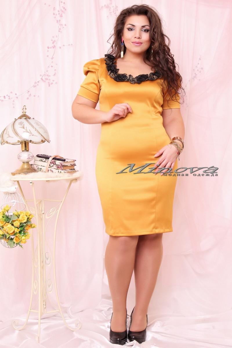 Нарядное платье больших размеров из атласа 50-52