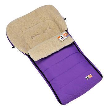 "Детский зимний конверт чехол на овчине в коляску санки ""For kids"" Mini фиолетовый"
