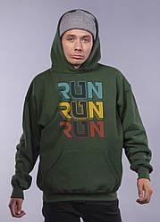 "Толстовка тёмно зелёная LOYS ""Run Run Run"" XXL"