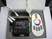 RGB контроллер музыкальный с радио пультом (touch screen) 12/24V; 6A/канал (линейный вход)