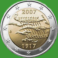 Финляндия 2 евро 2007 г. 90-летие провозглашения независимости Финляндии . UNC
