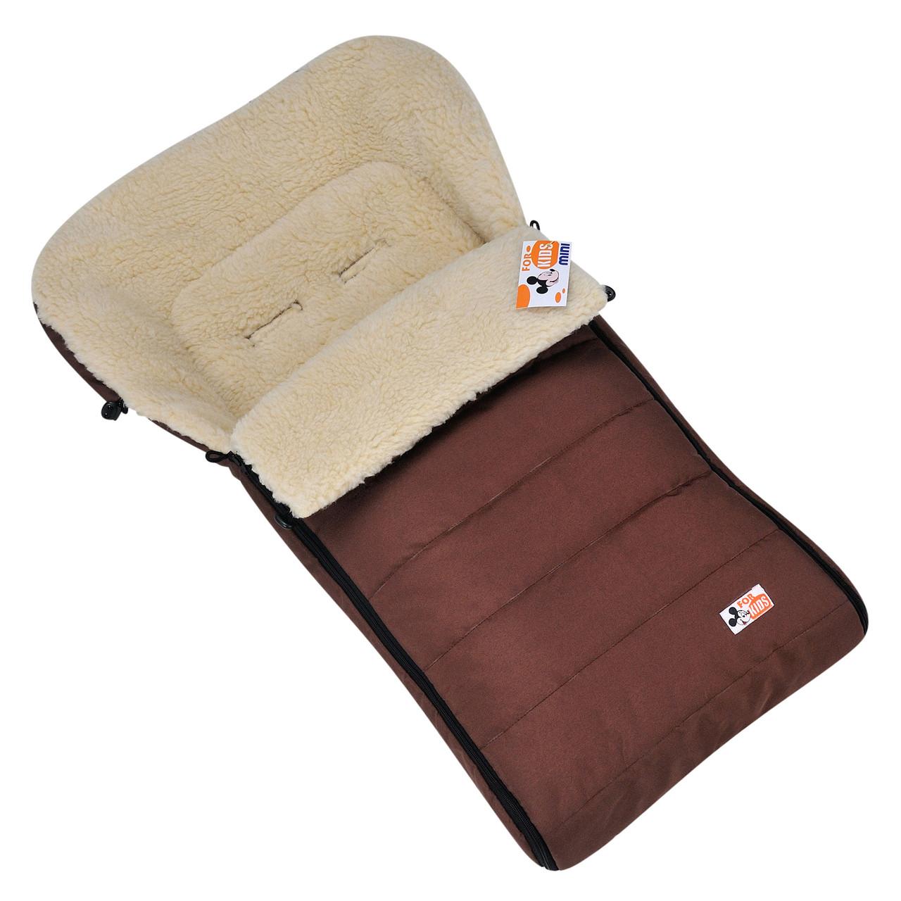 """Детский зимний конверт чехол на овчине в коляску санки """"For kids"""" Mini коричневый"""