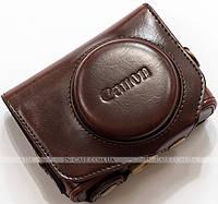 Кожаный чехол для фотоаппарата Canon PowerShot G7 X Coffee