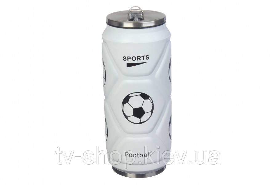 Термос с клапаном и трубочкой Футбол ,500 мл (черный,белый)