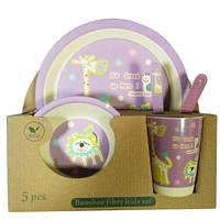 Набор детской бамбуковой посуды Eco Bamboo 5 предметов MH-2772 фиолетовый