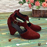 Туфли женские замшевые на устойчивом каблуке, цвет бордо. 37 размер
