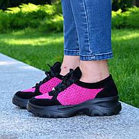 Стильные женские замшевые кроссовки на шнуровке, цвет черный/фуксия. 37 размер