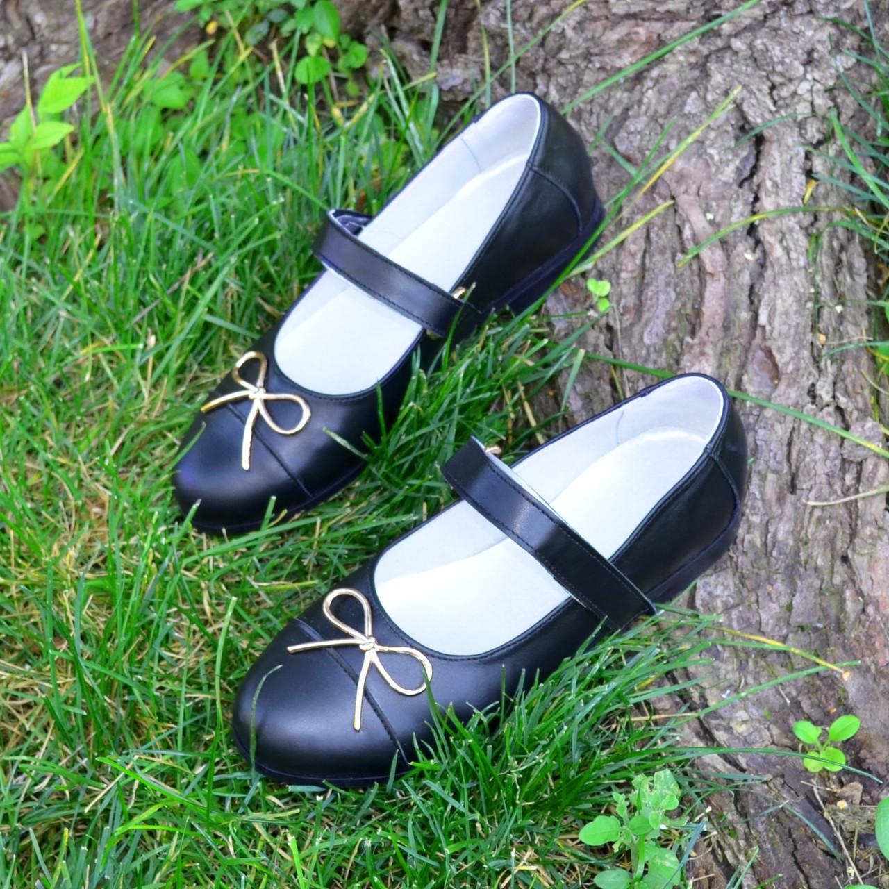 Туфли школьные для девочек из натуральной кожи. 35 размер