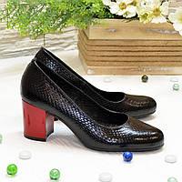 Туфли кожаные на невысоком устойчивом каблуке, цвет черный. 37 размер