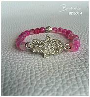 Браслет розовый из натуральных камней агат  с Рукой Фатимы или Хамса BD3014