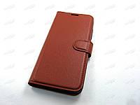 Кожаный чехол книжка ZTE Blade V10 Vita (коричневый)