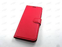 Кожаный чехол книжка ZTE Blade V10 Vita (красный)