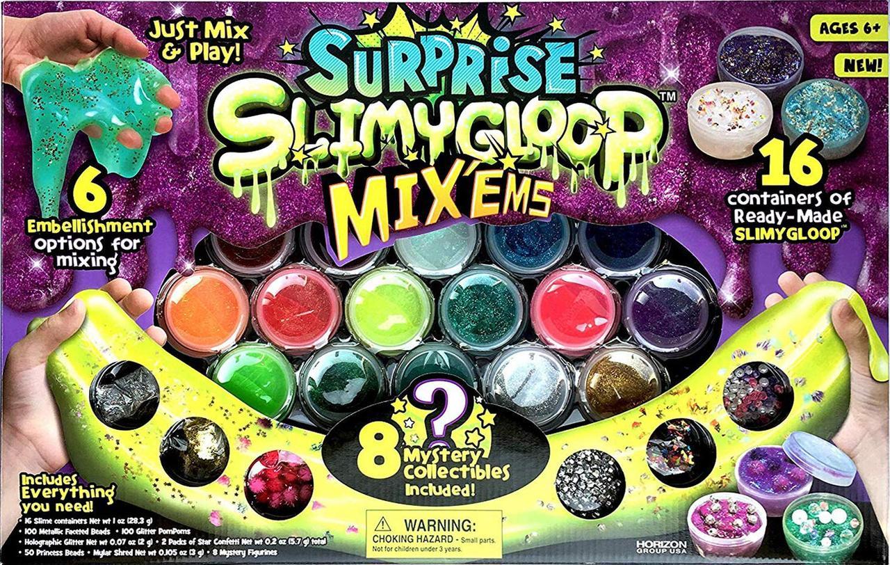 """Большой набор готовых слаймов c блёстками и шармиками """"Играй и Смешивай"""" SlimyGloop Surprise. Оригинал из США"""