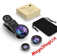 Набор объективов для телефона 3 в 1 с оптических линз (Macro, Fisheye lens, Wide-angle)