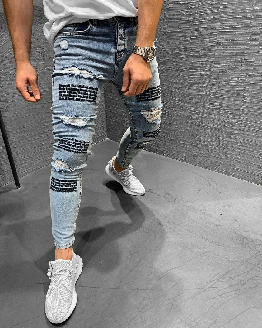 Мужские стильные рваные джинсы (голубые) - Турция