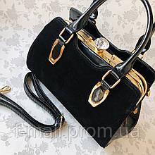 Женская сумка каркасная черная  (2055)