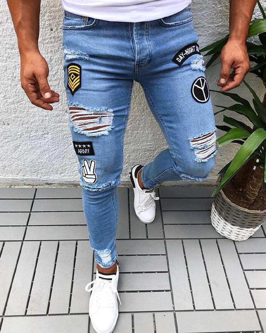 Мужские стильные рваные джинсы (синие) - Турция