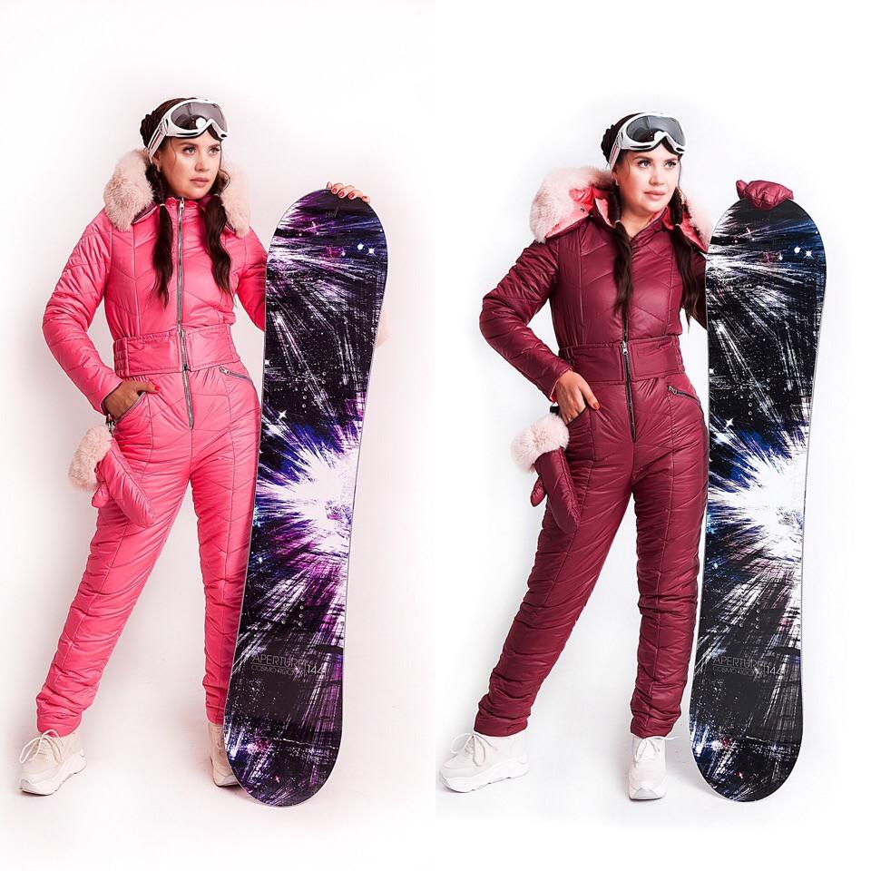 Бордово-розовый лыжный женский комбинезон с варежками XS-XL