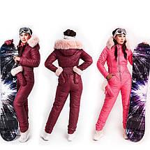 Бордово-розовый лыжный женский комбинезон с варежками XS-XL, фото 2