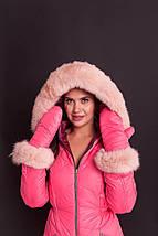 Бордово-розовый лыжный женский комбинезон с варежками XS-XL, фото 3