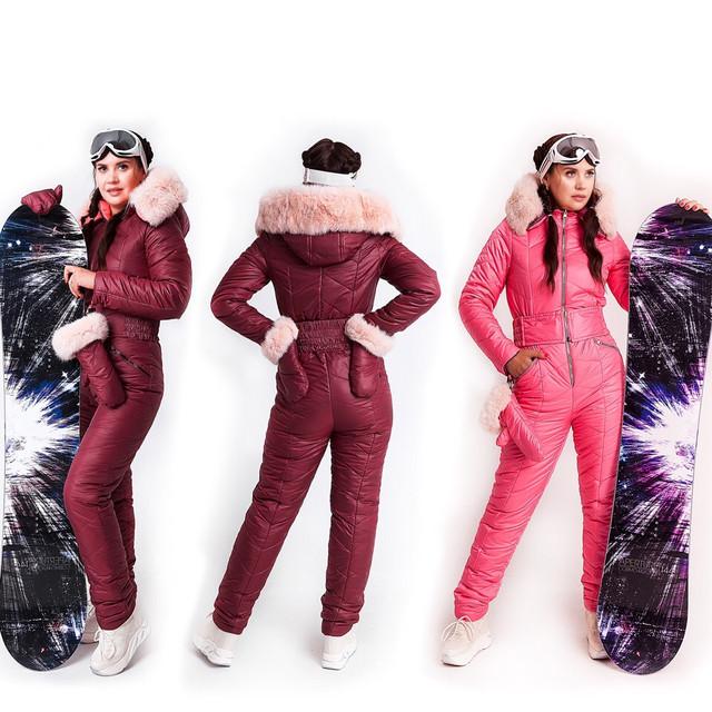 Двусторонний зимний женский комбинезон фото
