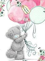 """Вафельная картинка на торт """"Мишка Тедди"""" (на листе А4)- Мишка Тедди """"С Днем рождения"""" и шарики, Одна прямоугольная большая картинка"""