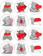 """Вафельная картинка на торт """"Мишка Тедди"""" (на листе А4)- Мишка Тедди с красным сердцем, 12 маленьких серых с красными сеердцами и цветами на А4"""