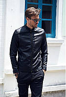 Кожаная куртка мужская черного цвета , стильная