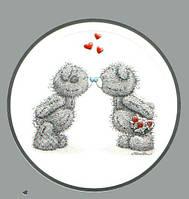 """Вафельная картинка на торт """"Мишка Тедди"""" (на листе А4)-  кругл ), Большая круглая (2 мишки соединены носами)"""