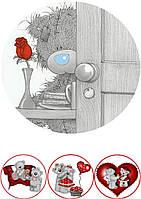 """Вафельная картинка на торт """"Мишка Тедди"""" (на листе А4)- Мишка Тедди серый за дверью + 3, Одна большая круглая серая с красной розой и 3 маленьких"""
