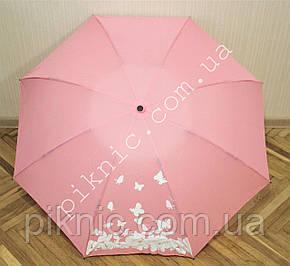 Зонт обратного сложения компактный полный автомат. Женский зонтик от дождя. Рисунок меняет цвет., фото 2