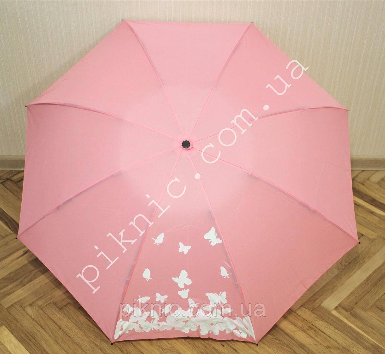 Зонт обратного сложения компактный полный автомат. Женский зонтик от дождя. Рисунок меняет цвет.