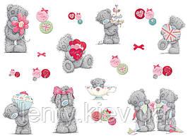"Вафельная картинка на торт ""Мишка Тедди"" (на листе А4)- Мишка Тедди серый + мелкие эллементы, Мишка Тедди серый + мелкие эллементы"