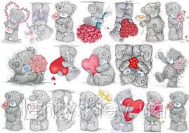 "Вафельная картинка на торт ""Мишка Тедди"" (на листе А4)- Мишка Тедди серый с сердцами и цветами 19, Мишка Тедди серый с сердцами и цветами 19"