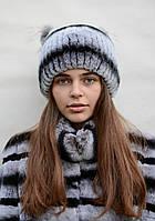 """Вязаная женская меховая шапка из меха кролика (Рекс) """"Веерок"""", фото 1"""