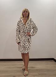 Короткий теплый халат Леопардик