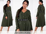 Вельветовое платье женское с ремнем в комплекте FL/-6003 - Хаки, фото 1