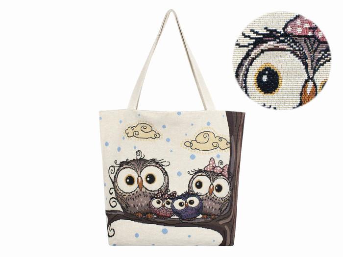 Нежная текстильная женская сумка Семья Сов Тотэ Флакс