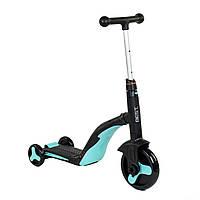 Самокат трансформер 3 в 1 свет и музыка BestScooter самокат беговел трехколесный велосипед от 3 лет голубой