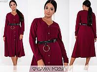 Вельветове сукня жіноча з ременем в комплекті FL/-6003 - Марсала, фото 1