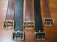 Ремни кожаные пряжка латунь, офицерские коричневые, код : 440.