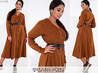 Вельветовое платье женское с ремнем в комплекте FL/-6003 - Коричневый, фото 1