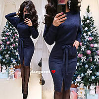 Теплое ангоровое платье с поясом низ впереди с разрезом