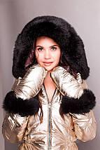 Жіночий лижний стьобаний комбінезон золотисто-шоколадний XS-XL, фото 3