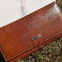 Жіночий тонкий коричневий гаманець з тисненням під шкіру змії KARYA